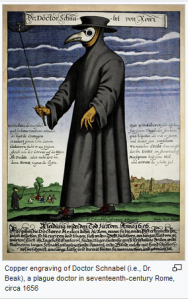 A figure in dark robes and hat carries a stick and wears a beak-nosed mask that protects the face from germs. The engraving contains text that is not legible.